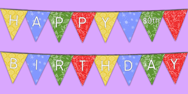 Happy 80th Birthday Bunting - 80th birthday party, 80th birthday, birthday party, bunting