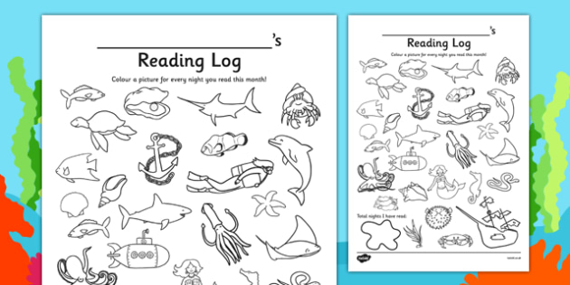 Under the Sea Themed Reading Log - english, literacy, record, diary, fishes, books