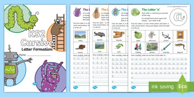 new ks2 cursive letter formation practice activity booklet. Black Bedroom Furniture Sets. Home Design Ideas
