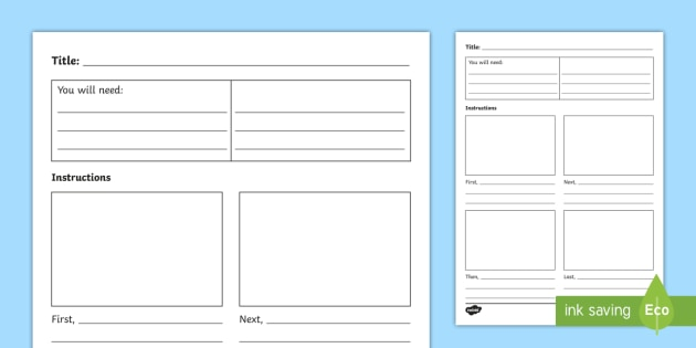 New 1st 2nd Class Procedural Writing Template Instructions Method