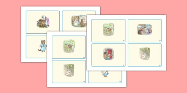 Beatrix Potter - The Tale of Tom Kitten Story Sequencing Cards - beatrix potter, tom kitten