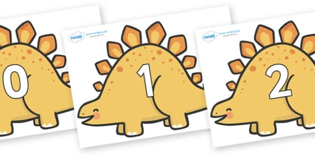 Numbers 0-100 on Stegosaurus Dinosaurs - 0-100, foundation stage numeracy, Number recognition, Number flashcards, counting, number frieze, Display numbers, number posters