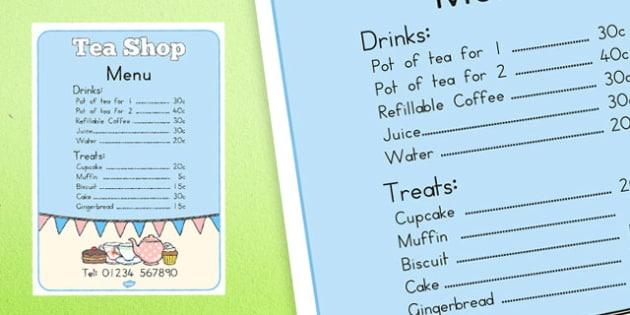 Tea Shop Role Play Menu - australia, tea shop, role-play, menu