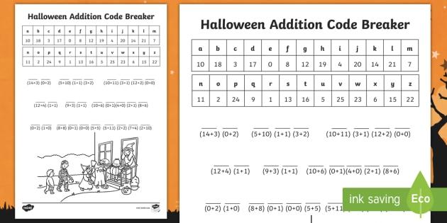 Ks Halloween Code Breaker Addition Worksheet  Worksheet  St October Ks Halloween Code Breaker Addition Worksheet  Worksheet  St October  Numeracy Calculations