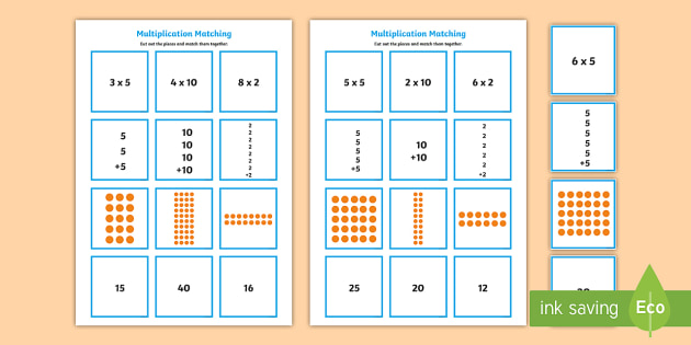 2 5 and 10 times table multiplication matching puzzle for 10 times table game