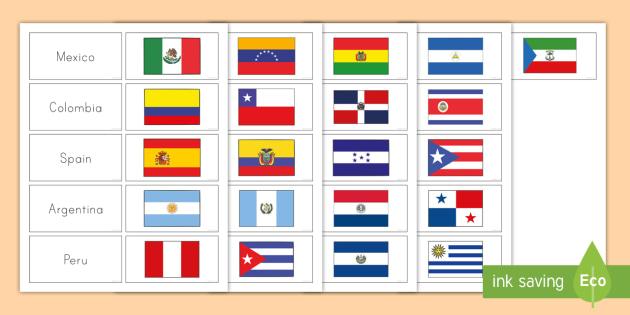 Hispanic Heritage Month Flag Matching Cards Teacher Made