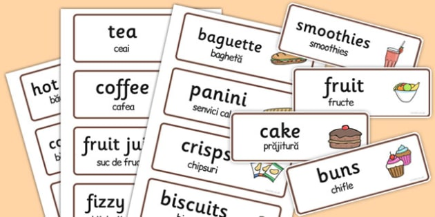 Cafe Role Play Word Cards Romanian Translation - romanian, caf
