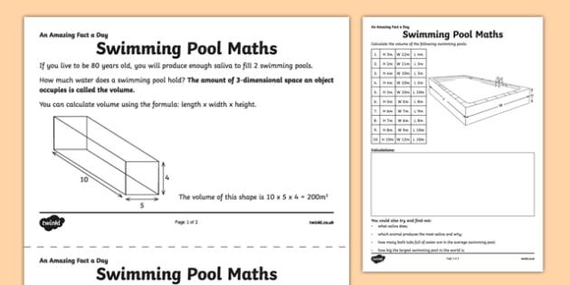 Swimming Pool Maths Activity Sheet - amazing fact a day, activity sheet, activity, activities, swimming pool, worksheet