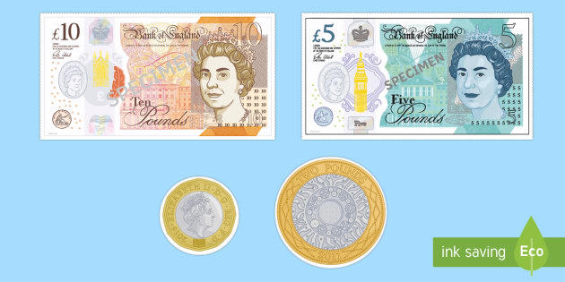 Toy Money Cut Outs : New british uk coins display cut outs