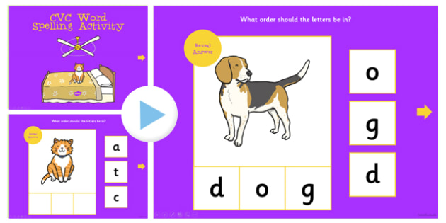 CVC Word Spelling PowerPoint Activity - cvc, spelling, powerpoint