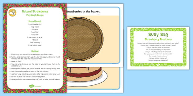 Strawberry Fractions Playdough Busy Bag Prompt Card and Resource Pack - strawberry, half, halving, quarter, quartering, cake, basket