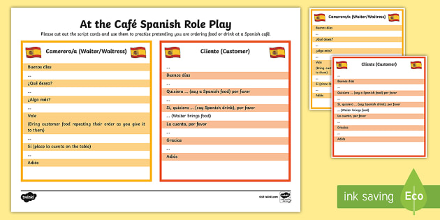 At The Café Spanish Role Play Menu Spanish Food Spanish Drink