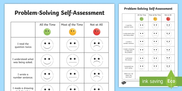 ProblemSolving SelfAssessment Worksheet  Activity Sheet