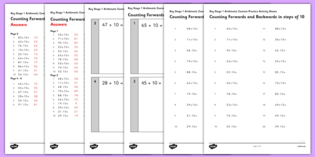 KS1 Arithmetic Content Practice Worksheet / Activity Sheet Pack Counting Forwards and Backwards in Steps of 10 - Maths, KS1, Key Stage 1, Arithmetic, counting, worksheet