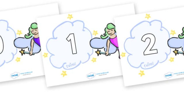 Numbers 0-50 on Fairies (Multicolour) - 0-50, foundation stage numeracy, Number recognition, Number flashcards, counting, number frieze, Display numbers, number posters