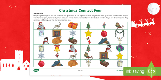 Christmas Connect.Christmas Themed Connect Four Game French French