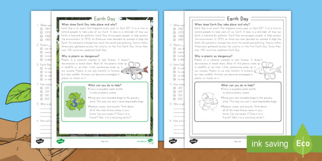 Second Grade Earth Day Reading Comprehension Activity