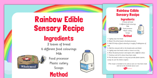 Rainbow Edible Sensory Recipe - rainbow, edible, sensory, recipe, colour