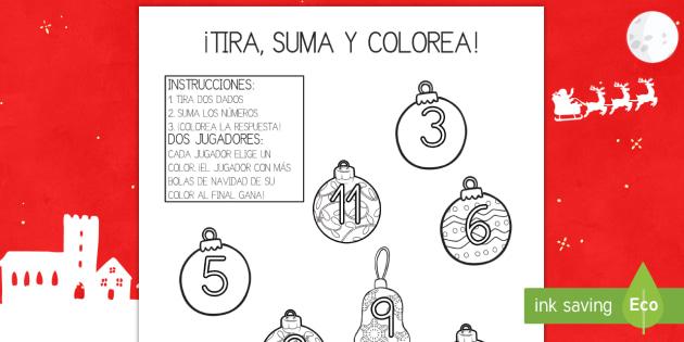 Ficha de tirar el dado y colorear - La Navidad - contar, sumar, sumas, adición, navidad, navideño, navideña,Spanish - contar, sumar, sumas, adición, navidad, navideño, navideña, Spanish