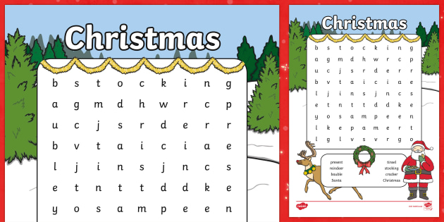 Christmas Word Search Printable Teacher Made