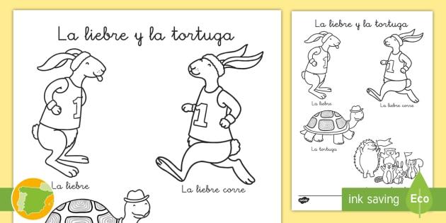 Hoja de colorear de vocabulario: La liebre y la tortuga