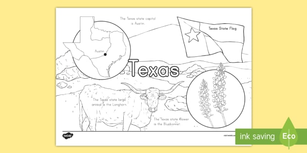 Texas State Facts Coloring Page States And Capitals Usa States