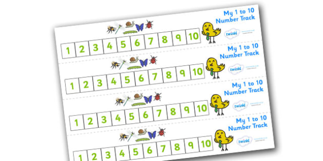 Minibeasts Number Track 0-10 (Detailed Version) - Maths, Math, number track,minibeast, minibeasts, numbertrack, Counting, Numberline, Number line, Counting on, Counting back