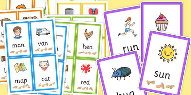 picture relating to Sign Language Flash Cards Printable named CVC Flash Playing cards with British Indication Language Detailed Pack - cvc