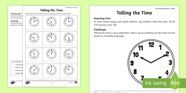 Telling the Time Worksheet / Activity Sheet - Amazing Fact Of