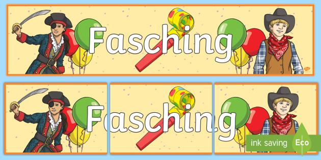 Fasching Banner für die Klassenraumgestaltung - Fasching, Karnival