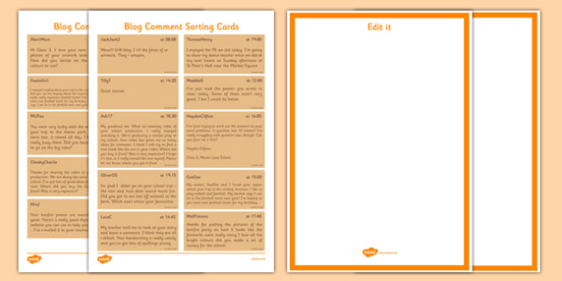 Leaving A Blog Comment Sorting Cards - blog, computing, comments, behaviour, esafety, safety