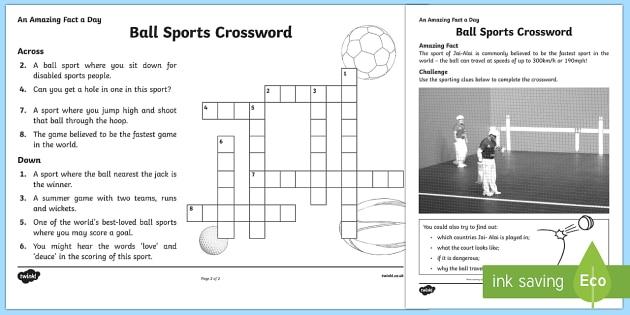 Ball Sports Crossword