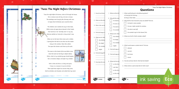 Ks2 Twas The Night Before Christmas Differentiated Reading