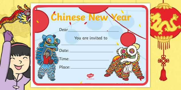 dragons in the city chinese new year celebration invitation cards chinese new year happy