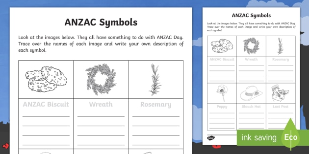 Anzac Symbols Worksheet Activity Sheet Australian History