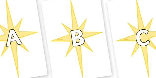 A-Z Alphabet on Christmas Stars - A-Z, A4, display, Alphabet frieze, Display letters, Letter posters, A-Z letters, Alphabet flashcards