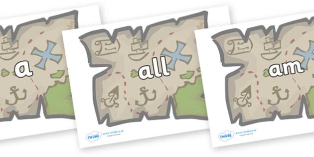 Foundation Stage 2 Keywords on Treasure Maps - FS2, CLL, keywords, Communication language and literacy,  Display, Key words, high frequency words, foundation stage literacy, DfES Letters and Sounds, Letters and Sounds, spelling