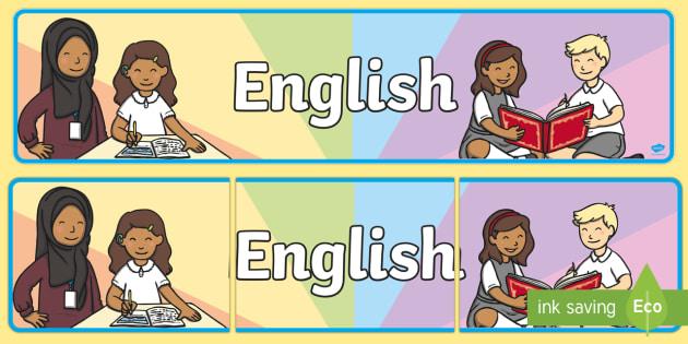 English Display Banner - English, display, banner, sign, poster, reading, writing, information, UK, Great Britain, language, languages, England, foreign, teaching