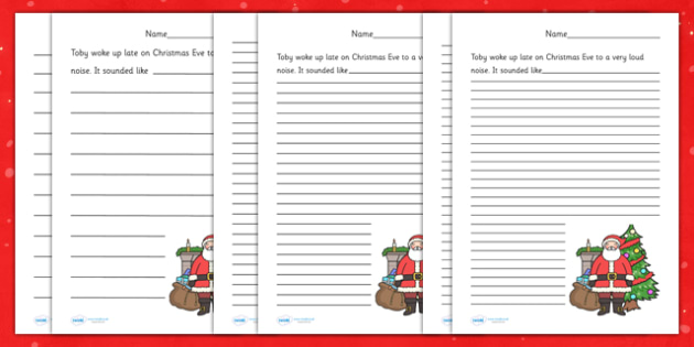 Christmas story writing project with template, pop-outs, and story.