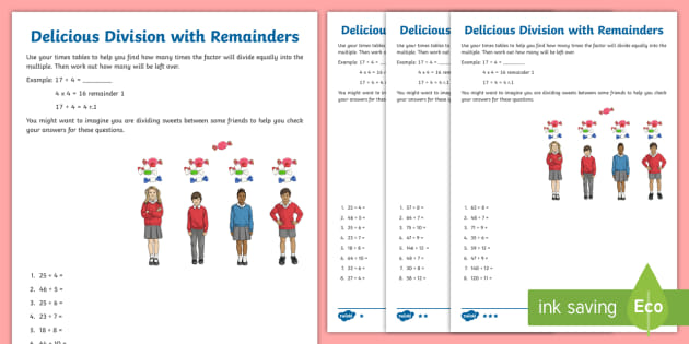 Delicious Division With Remainders Worksheet Teacher Made