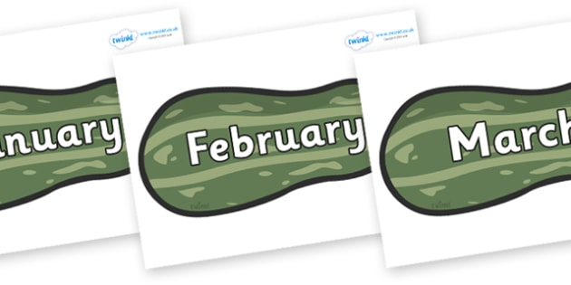 Months of the Year on Marrows - Months of the Year, Months poster, Months display, display, poster, frieze, Months, month, January, February, March, April, May, June, July, August, September