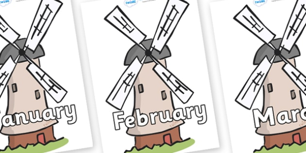 Months of the Year on Windmills - Months of the Year, Months poster, Months display, display, poster, frieze, Months, month, January, February, March, April, May, June, July, August, September