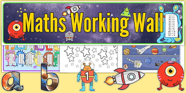Space Themed Maths Working Wall Pack - space, maths, working wall, pack
