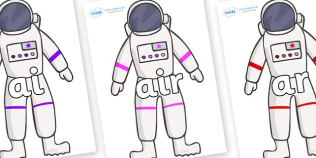 Phase 3 Phonemes on Astronaut - Phonemes, phoneme, Phase 3, Phase three, Foundation, Literacy, Letters and Sounds, DfES, display