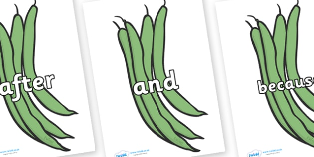 Connectives on Green Beans - Connectives, VCOP, connective resources, connectives display words, connective displays