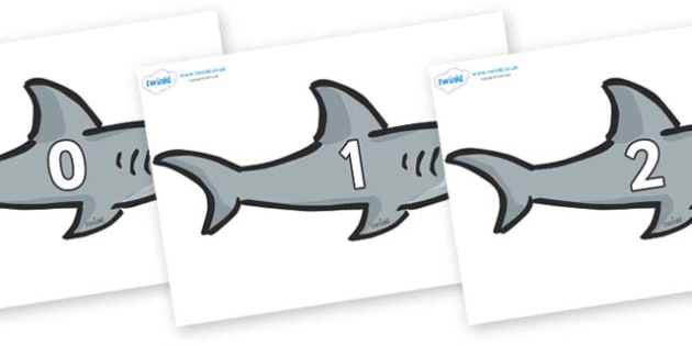 Numbers 0-31 on Sharks - 0-31, foundation stage numeracy, Number recognition, Number flashcards, counting, number frieze, Display numbers, number posters