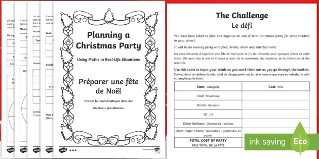 maths problem solving planning a christmas party booklet