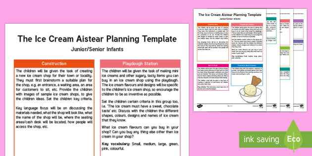 The Ice Cream Shop Aistear Planning Template - Aistear, Infants, English Oral Language, School, The Garda Station, The Hairdressers, The Airport, T