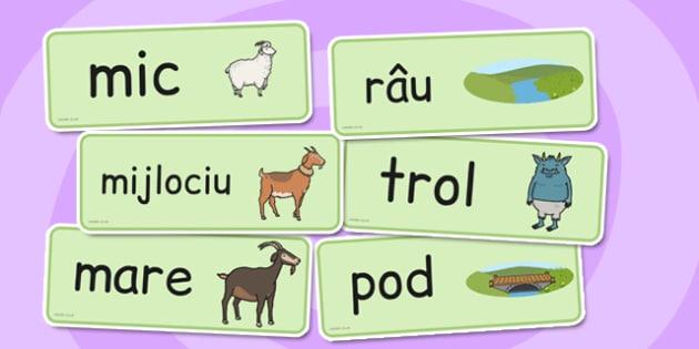 Cele trei capre posace - Cartonașe cu imagini și cuvinte - cele trei capre posace, poveste, cartonașe, imagini, cuvinte, materiale, materiale didactice, română, romana, material, material didactic