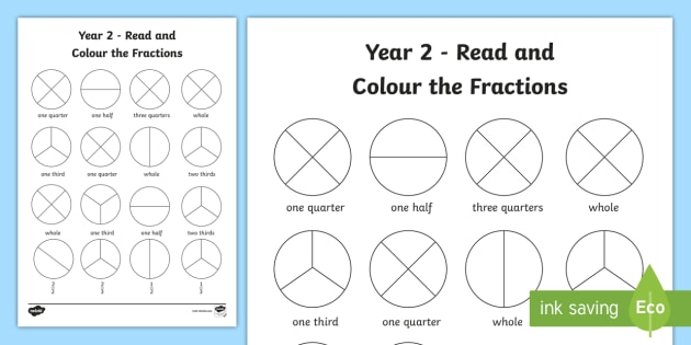 Read and Colour a Fraction - Year 2 Worksheet
